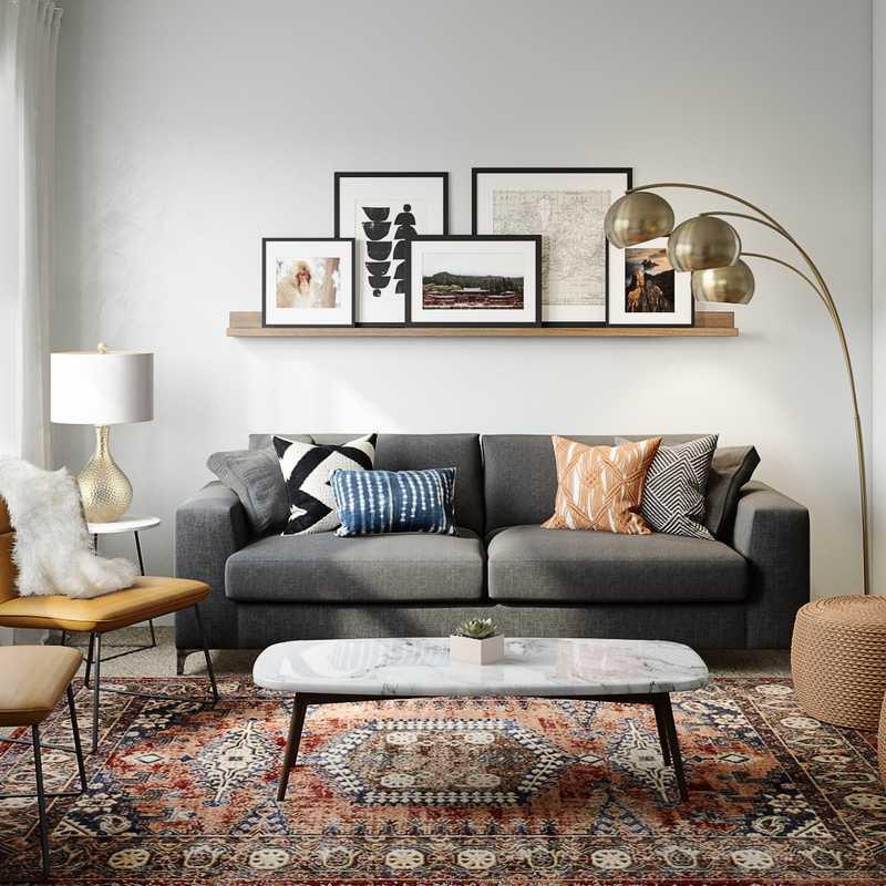 Bohemian, Midcentury Modern, Scandinavian Living Room Design by Havenly Interior Designer Savannah