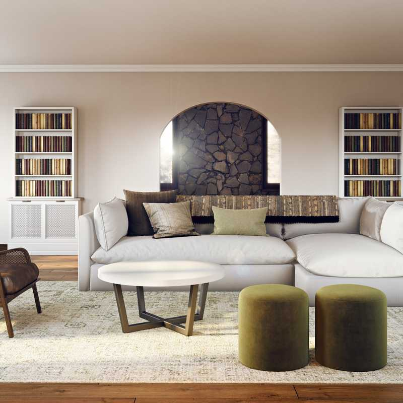 Contemporary, Classic, Bohemian, Traditional, Transitional Living Room Design by Havenly Interior Designer Stacy