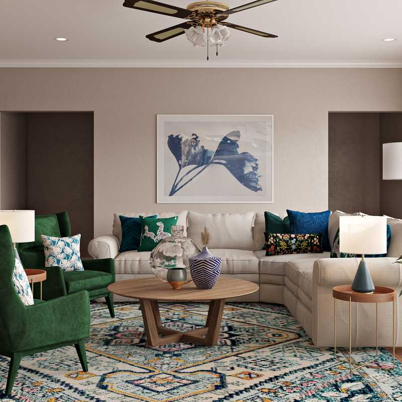 Eclectic, Bohemian, Midcentury Modern Living Room Design by Havenly Interior Designer Catrina