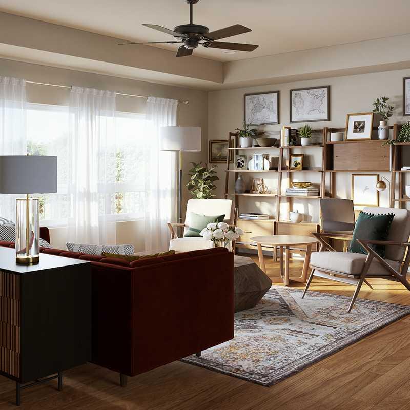 Bohemian, Transitional, Vintage, Midcentury Modern Living Room Design by Havenly Interior Designer Samantha