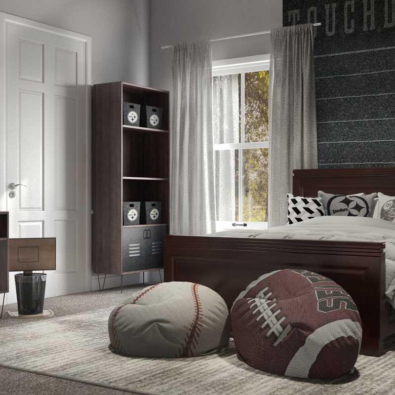 Industrial, Transitional Bedroom Design by Havenly Interior Designer Samantha