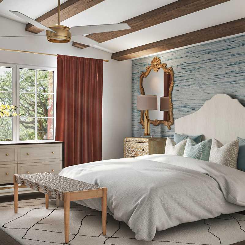 Eclectic, Coastal, Preppy Bedroom Design by Havenly Interior Designer Veridiana
