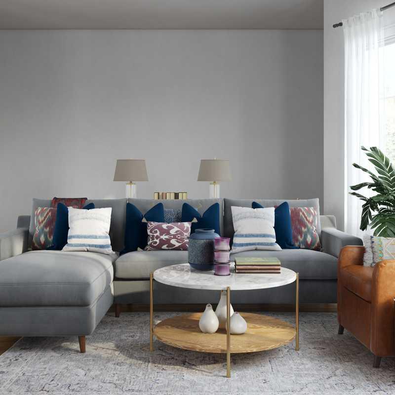 Modern, Bohemian, Global Living Room Design by Havenly Interior Designer Jennifer