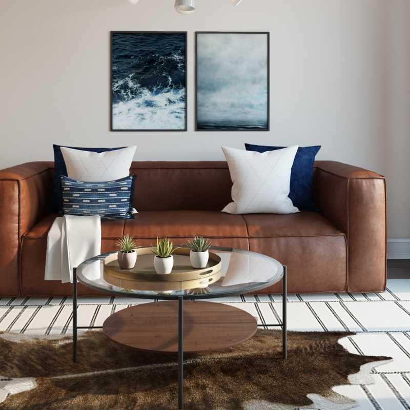 Modern, Eclectic, Industrial Living Room Design by Havenly Interior Designer Carsey