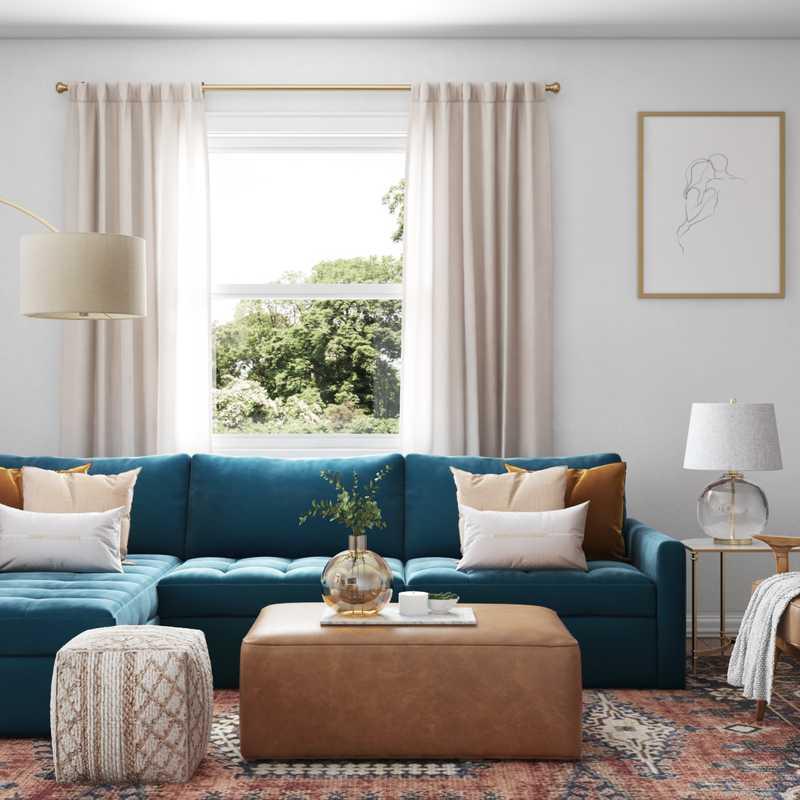 Bohemian, Midcentury Modern Living Room Design by Havenly Interior Designer Lilly