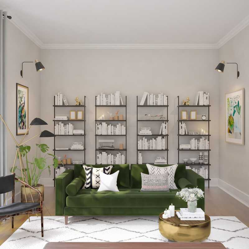 Eclectic, Glam Living Room Design by Havenly Interior Designer Nicolle