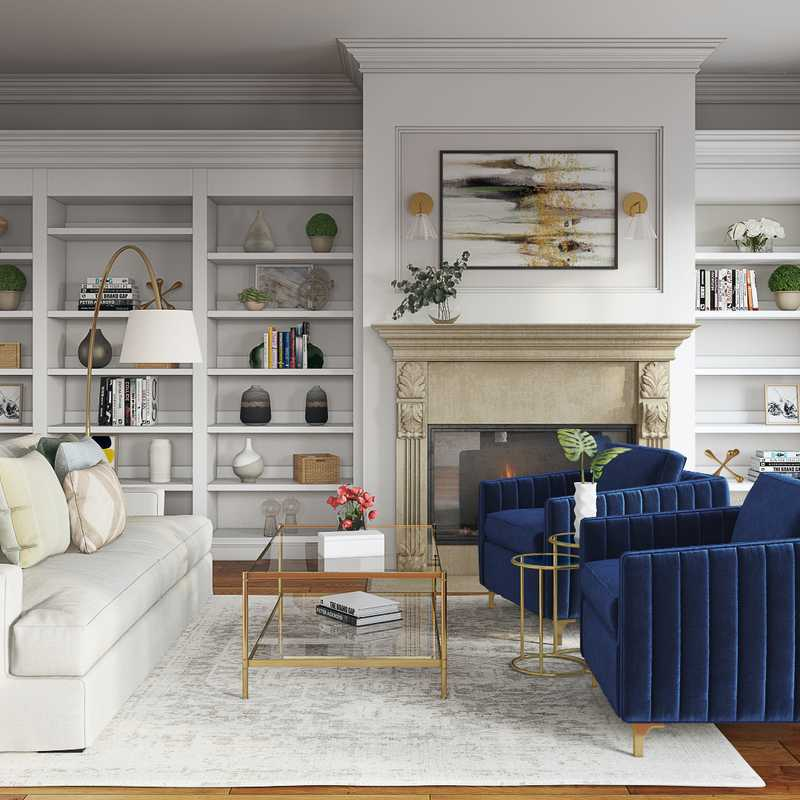 Modern, Glam, Vintage Living Room Design by Havenly Interior Designer Natalie