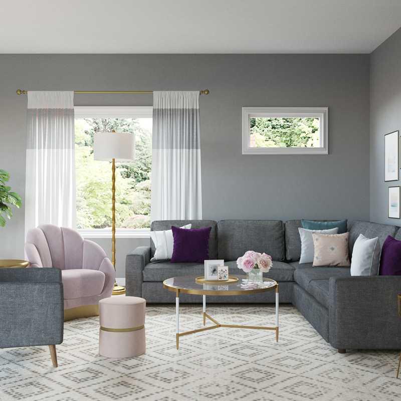 Glam Living Room Design by Havenly Interior Designer Alexandra
