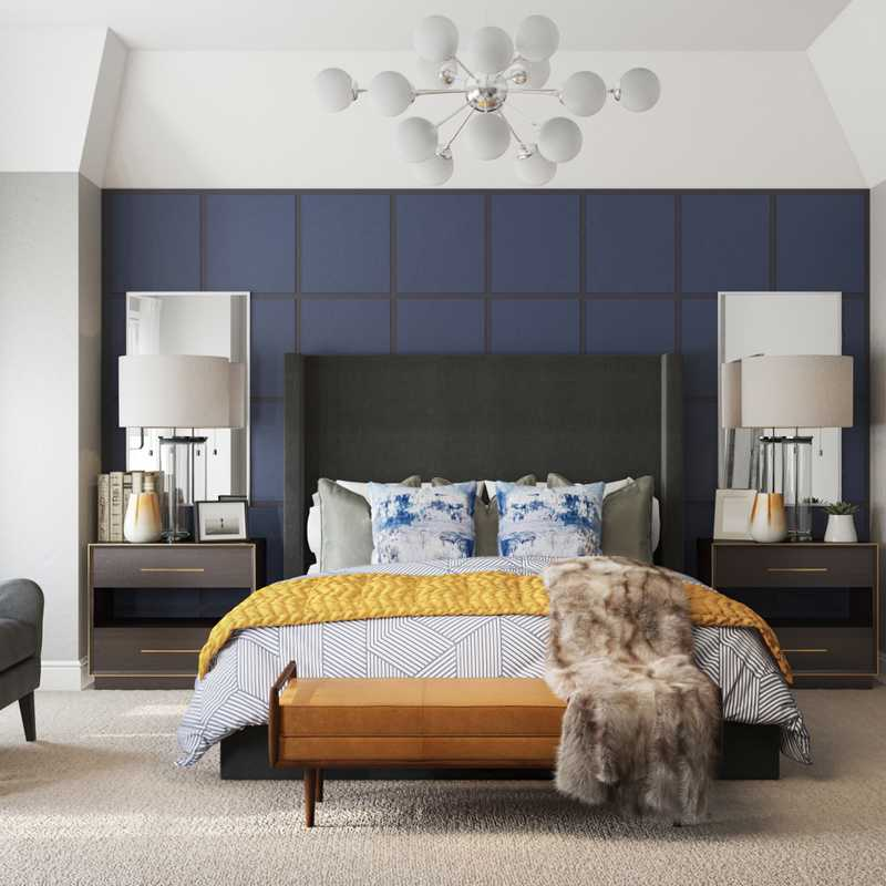 Modern, Eclectic, Glam, Transitional, Midcentury Modern Bedroom Design by Havenly Interior Designer Sable