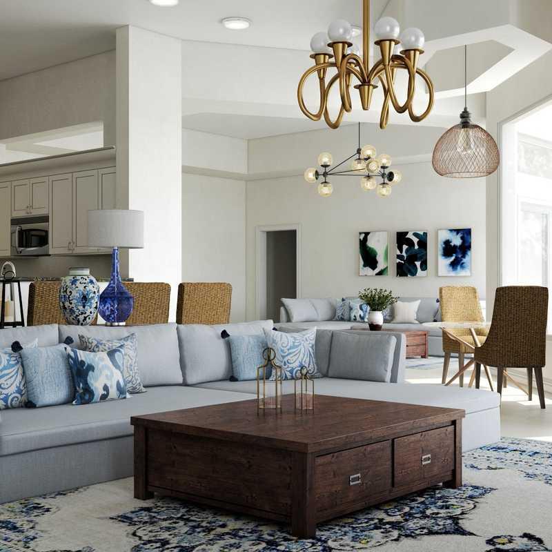 Modern, Coastal, Rustic Living Room Design by Havenly Interior Designer Haley