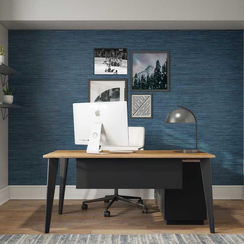 Contemporary, Modern, Industrial, Midcentury Modern Office Design by Havenly Interior Designer Emily