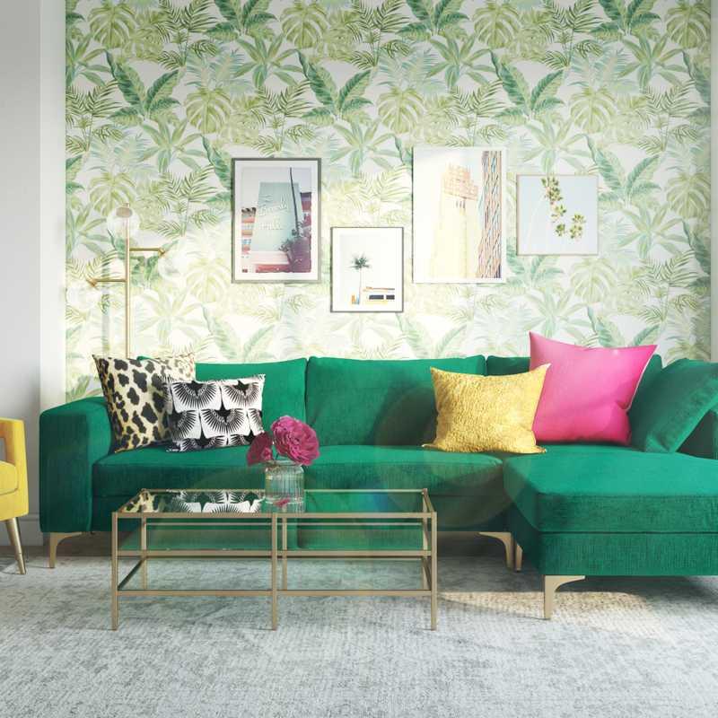 Glam, Preppy Living Room Design by Havenly Interior Designer Legacy