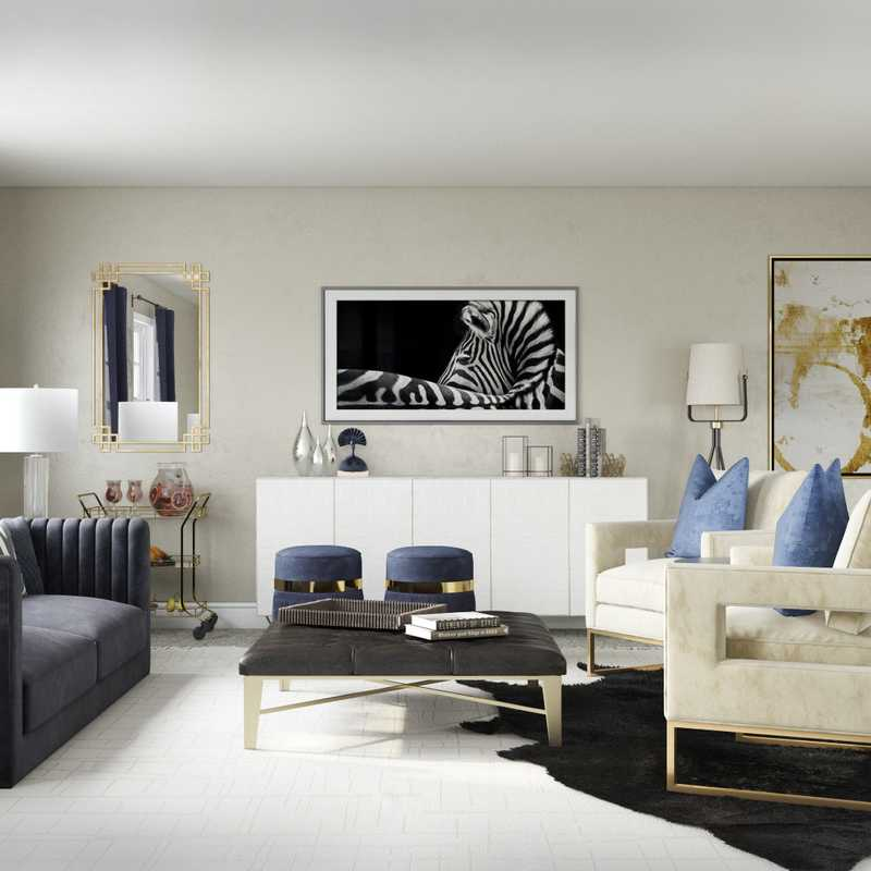 Glam Living Room Design by Havenly Interior Designer Pradnya