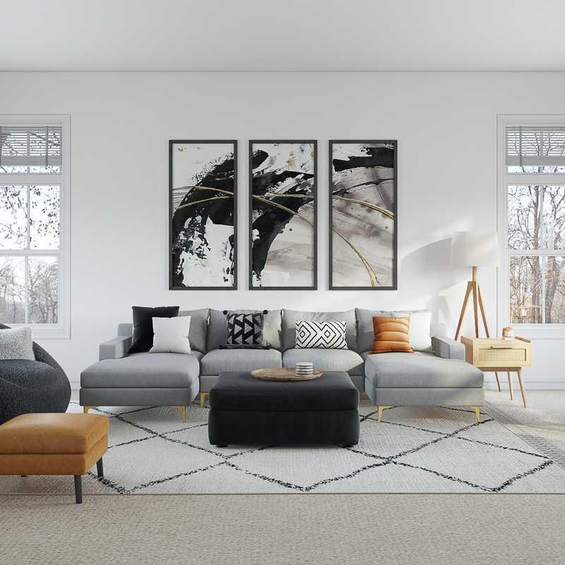Bohemian, Midcentury Modern Living Room Design by Havenly Interior Designer Kayti