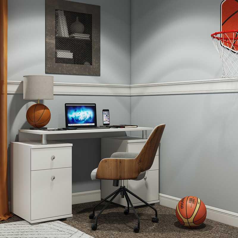 Industrial, Preppy Bedroom Design by Havenly Interior Designer Jenna