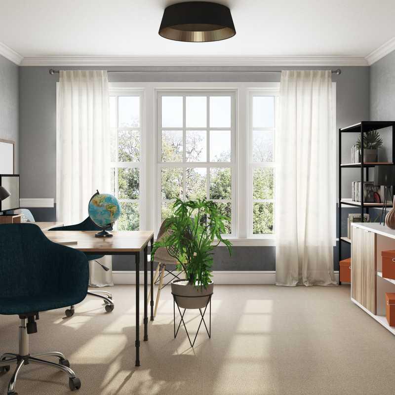 Bohemian, Farmhouse, Midcentury Modern Office Design by Havenly Interior Designer Gauri