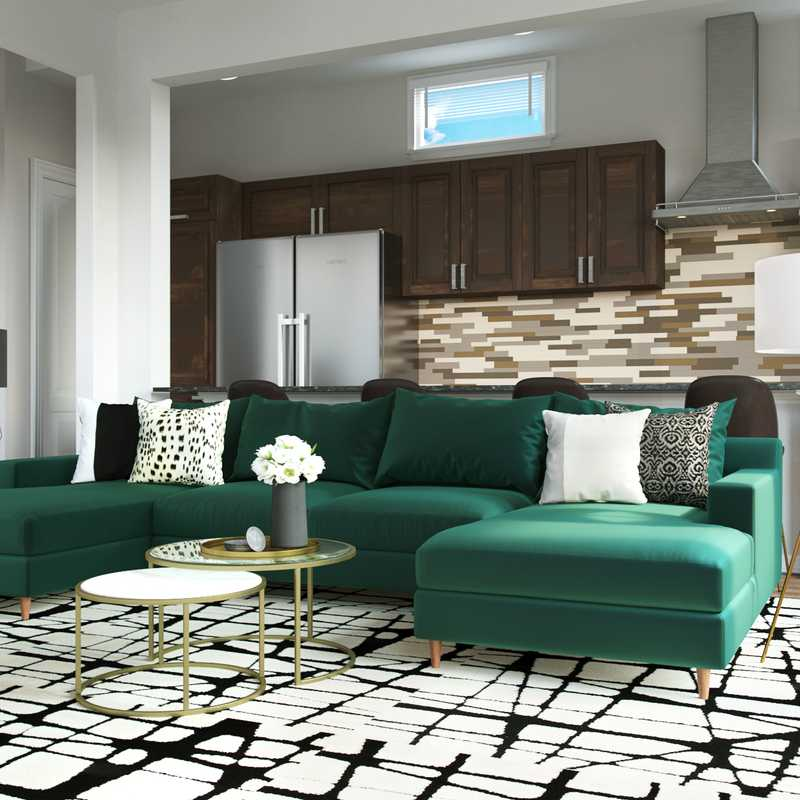Contemporary, Glam Living Room Design by Havenly Interior Designer Erin
