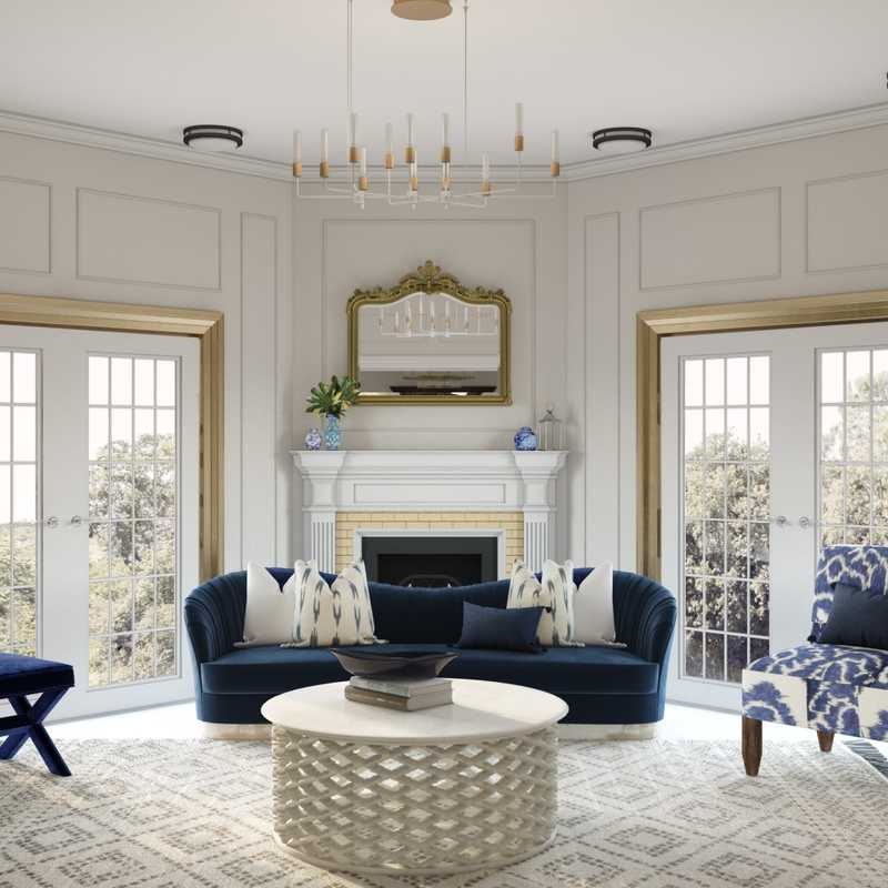 Coastal, Transitional Living Room Design by Havenly Interior Designer Sandra
