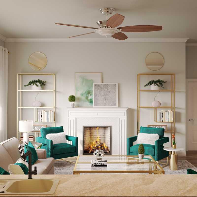 Contemporary, Glam Living Room Design by Havenly Interior Designer Adrian