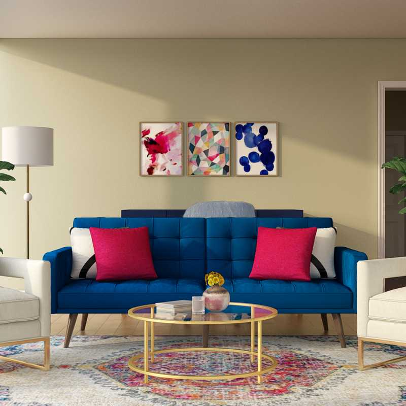 Bohemian, Glam, Midcentury Modern Living Room Design by Havenly Interior Designer Dana