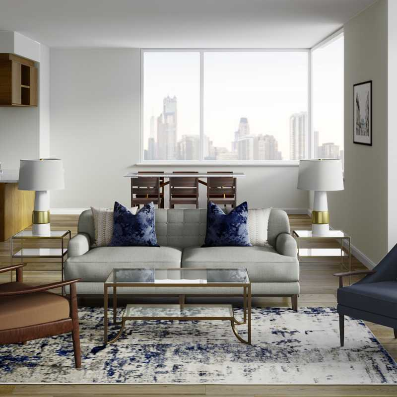 Glam, Transitional, Midcentury Modern Living Room Design by Havenly Interior Designer Megan