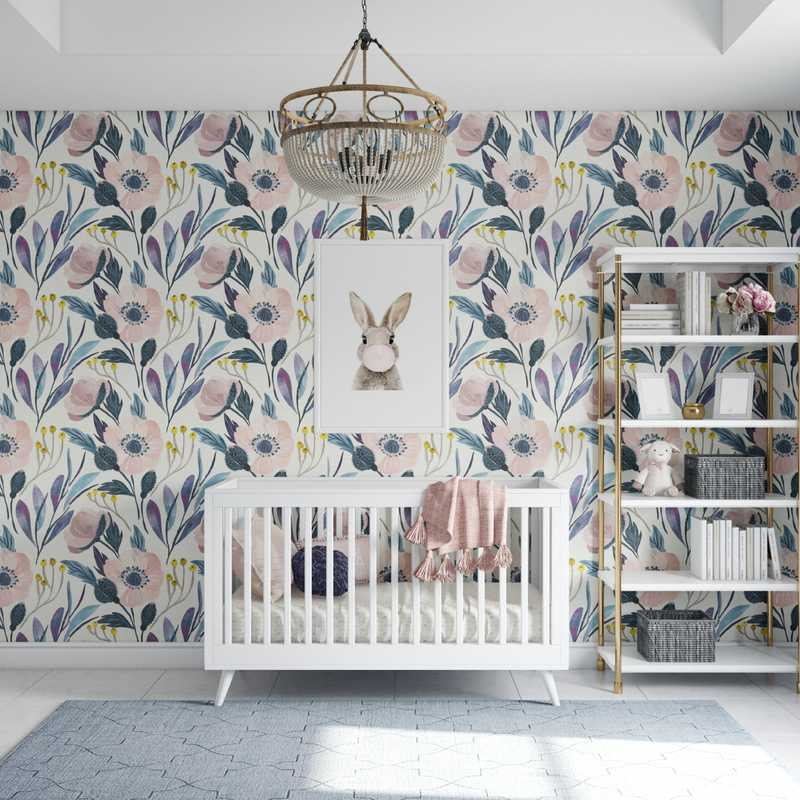 Modern, Bohemian, Preppy Nursery Design by Havenly Interior Designer Karen