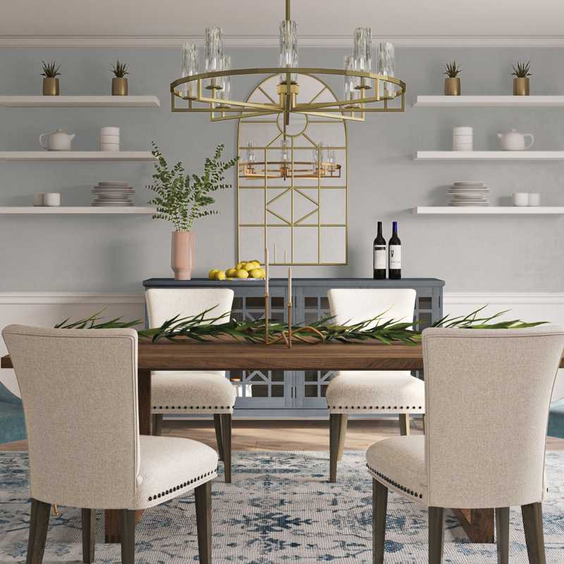 Modern, Bohemian, Coastal, Glam, Traditional, Farmhouse Dining Room Design by Havenly Interior Designer Natalie