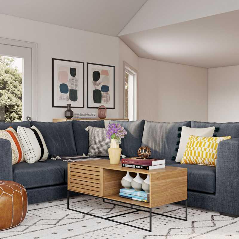 Bohemian, Midcentury Modern, Scandinavian Living Room Design by Havenly Interior Designer Leslie