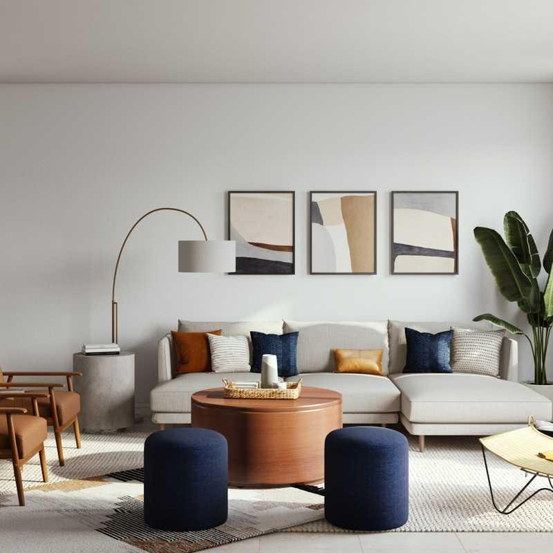 Bohemian, Midcentury Modern Living Room Design by Havenly Interior Designer Anny