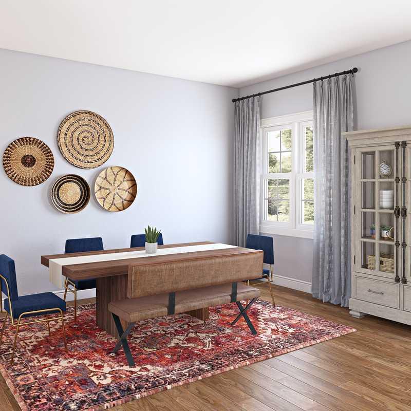 Bohemian, Rustic Dining Room Design by Havenly Interior Designer Sabra