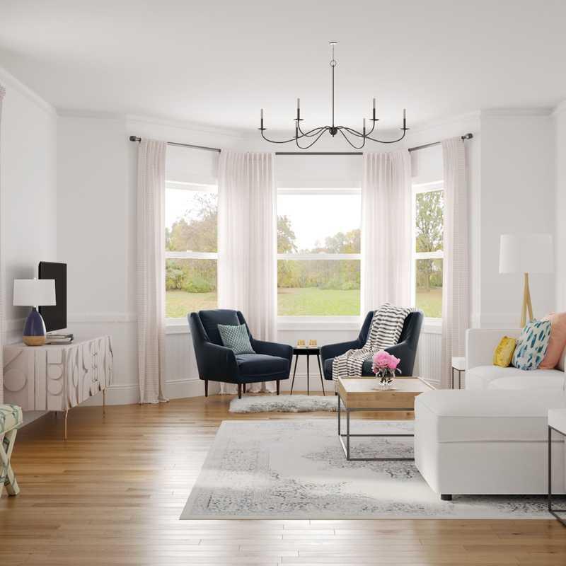 Coastal, Farmhouse, Midcentury Modern Living Room Design by Havenly Interior Designer Brailey