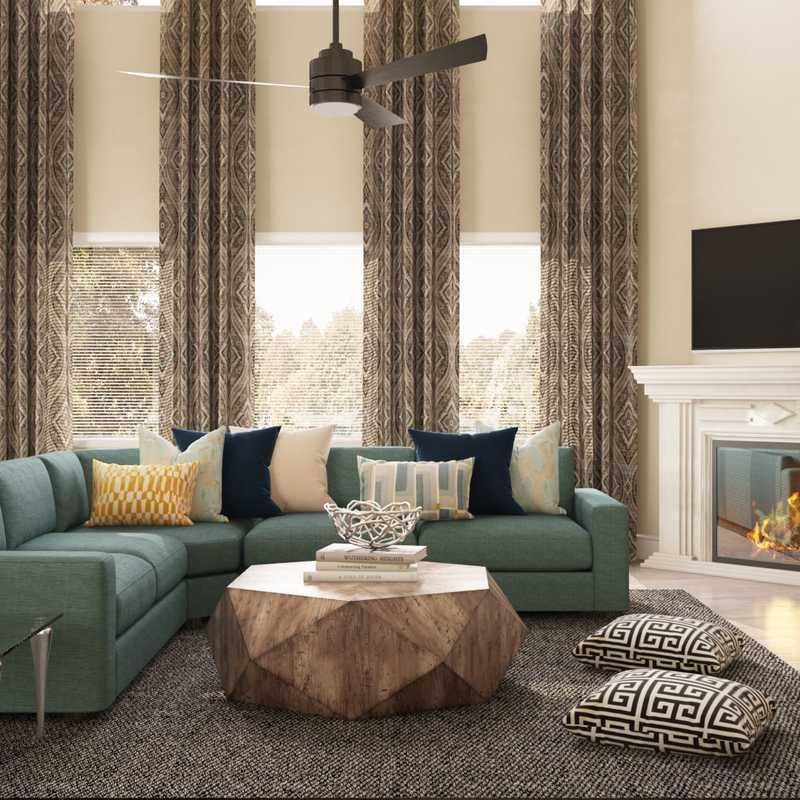 Modern, Glam, Farmhouse, Transitional Living Room Design by Havenly Interior Designer Michela
