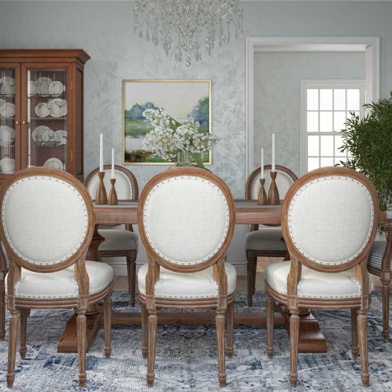 Coastal, Traditional Dining Room Design by Havenly Interior Designer Ingrid