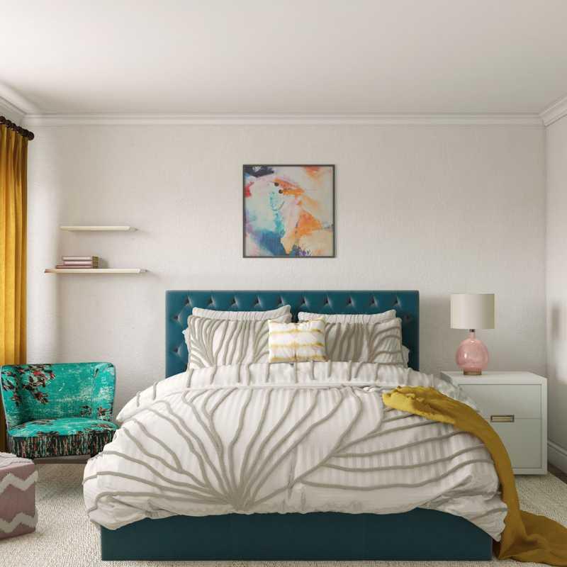 Bohemian, Midcentury Modern, Scandinavian Bedroom Design by Havenly Interior Designer Sandra