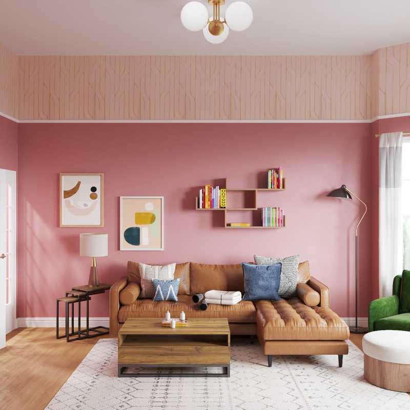 Bohemian, Midcentury Modern Living Room Design by Havenly Interior Designer Michelle