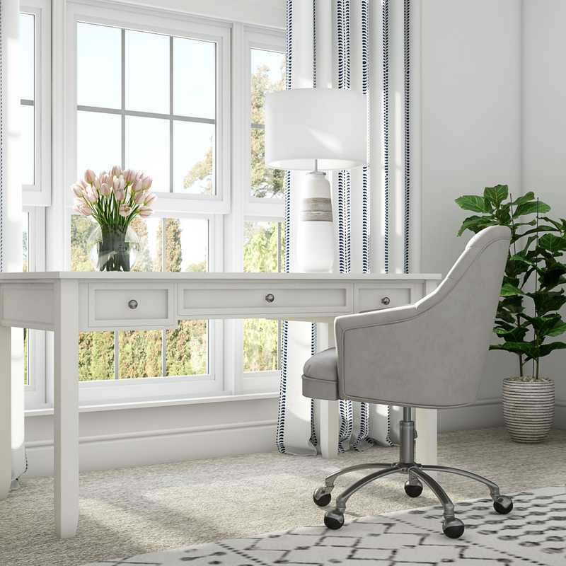 Classic, Coastal, Transitional Office Design by Havenly Interior Designer Drew