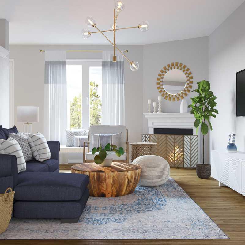 Modern, Eclectic, Bohemian, Coastal, Preppy Living Room Design by Havenly Interior Designer Hayley