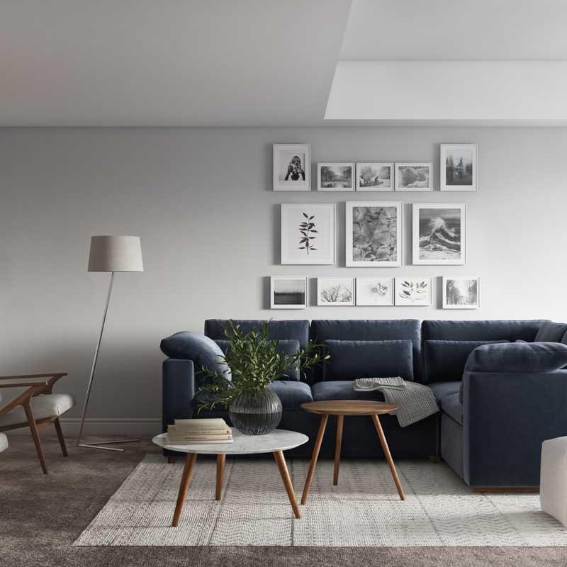 Contemporary, Midcentury Modern Living Room Design by Havenly Interior Designer Maria