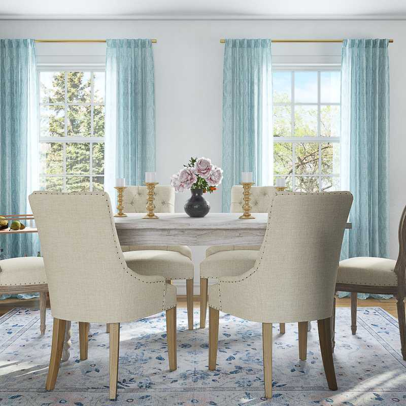 Coastal, Preppy Dining Room Design by Havenly Interior Designer Yoseika
