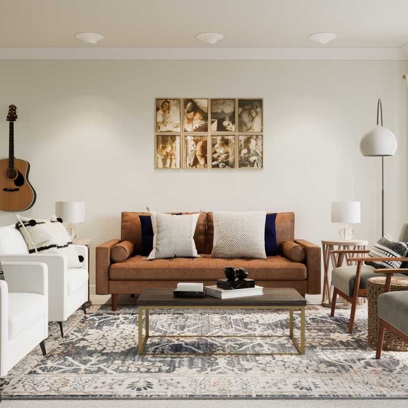 Bohemian, Midcentury Modern Living Room Design by Havenly Interior Designer Rebecca