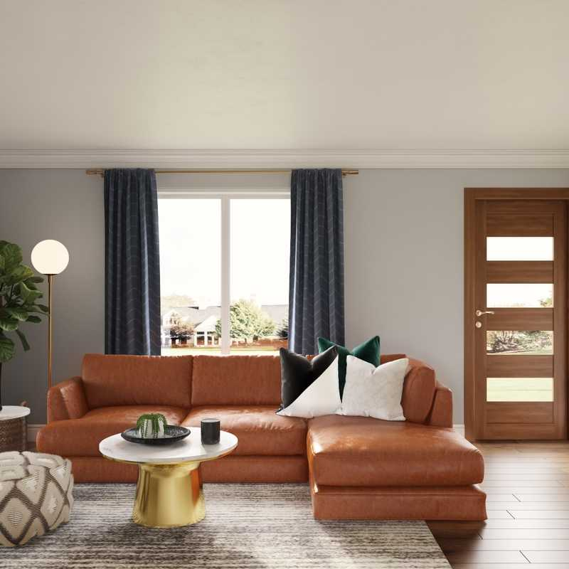 Contemporary, Eclectic, Midcentury Modern Living Room Design by Havenly Interior Designer Erin