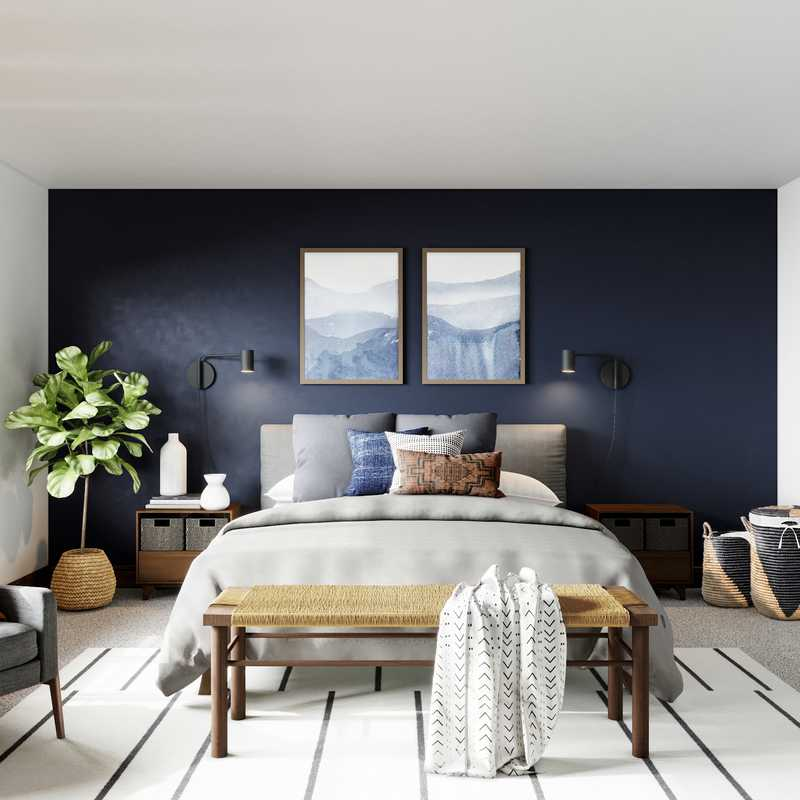 Bohemian, Industrial, Midcentury Modern Bedroom Design by Havenly Interior Designer Andy