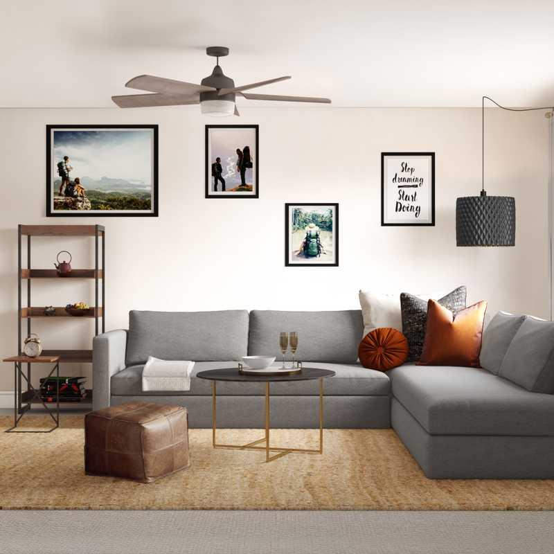 Bohemian, Midcentury Modern Living Room Design by Havenly Interior Designer Kiele