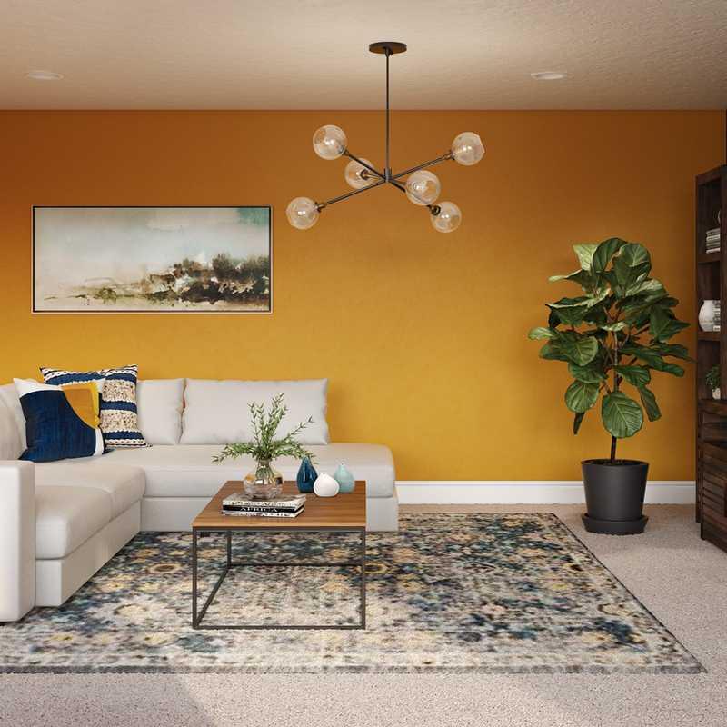 Eclectic, Industrial, Farmhouse, Rustic Living Room Design by Havenly Interior Designer Waleska