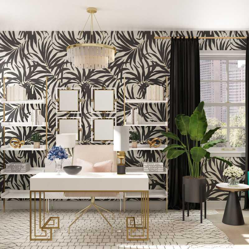 Contemporary, Glam Office Design by Havenly Interior Designer Melisa