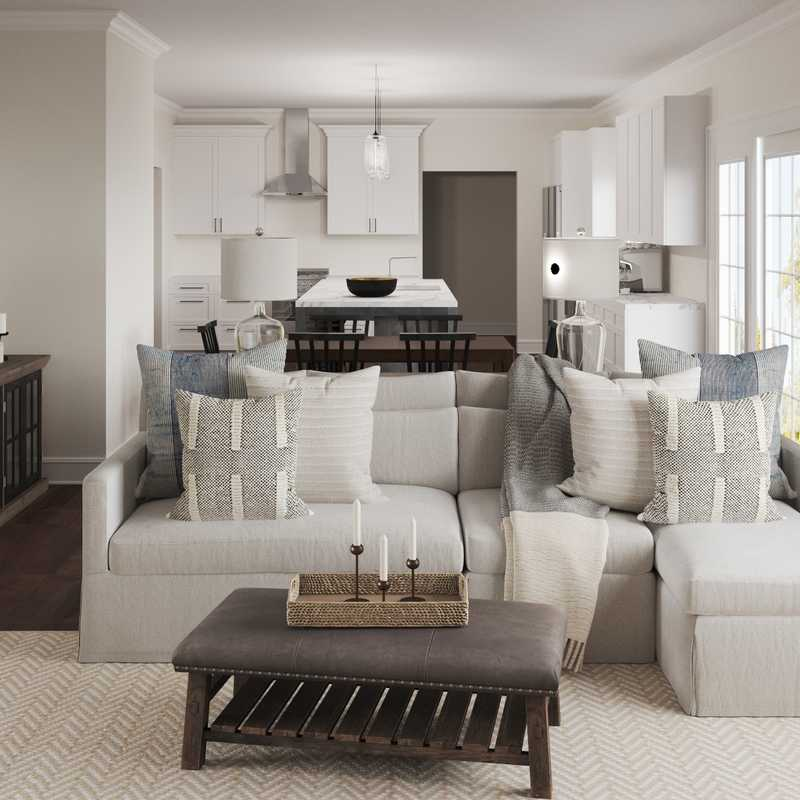 Coastal, Farmhouse, Transitional Living Room Design by Havenly Interior Designer Sara