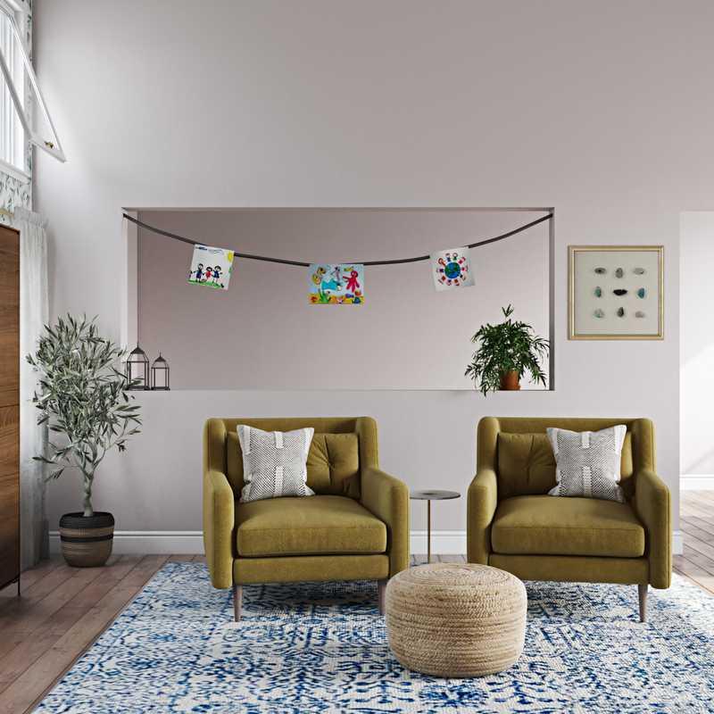 Contemporary, Bohemian, Farmhouse Living Room Design by Havenly Interior Designer Catrina