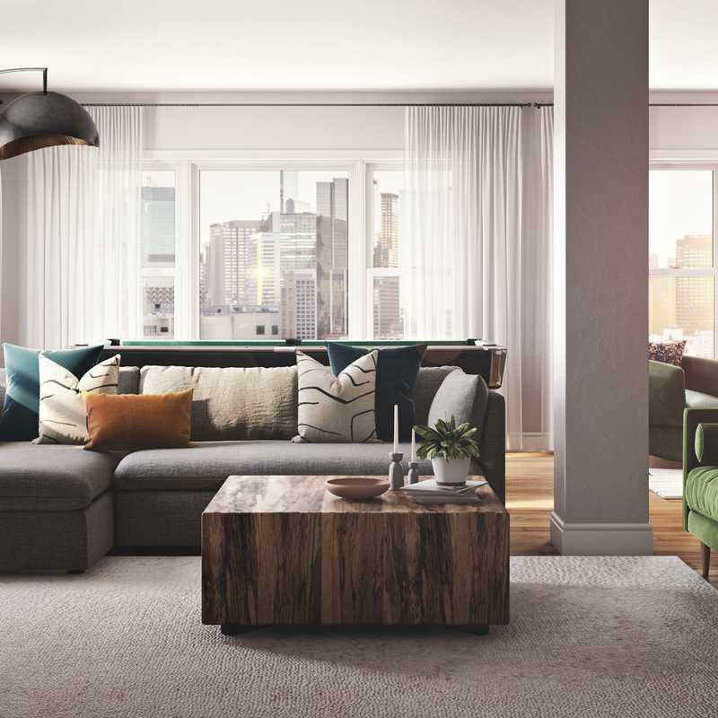 Bohemian Living Room Design by Havenly Interior Designer Isabella