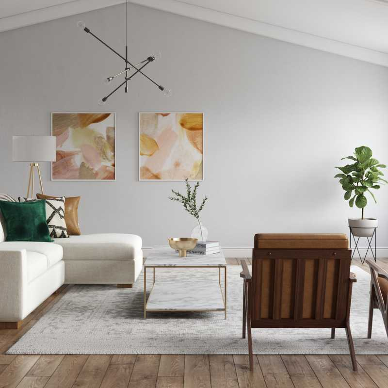 Glam, Midcentury Modern Living Room Design by Havenly Interior Designer Leslie