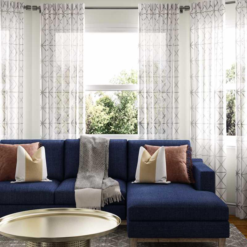 Modern, Bohemian, Midcentury Modern Living Room Design by Havenly Interior Designer Leah
